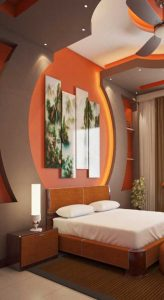 modern bedroom back wall ceiling
